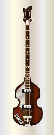典型的なヴァイオリン スタイル電気ベースギター