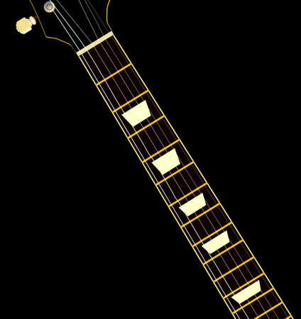 fretboard: A guitar neck with ebony fretboard and mother of pearl inlays