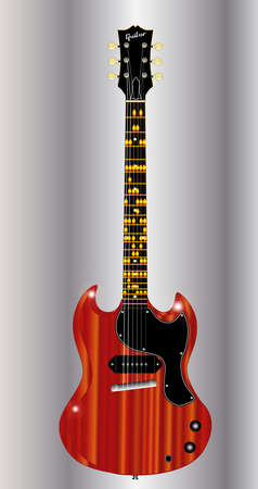 gibson: A solid body electric guitar with the notes of the guitar blues scale in the key of A indicated