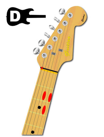 An electric guitar neck with the chord shape for D major indicated with red buttons