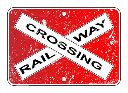 oz: A typical railway crossing sign over a white background
