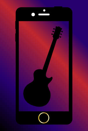 gibson: A generic mobile phone with a guitar on the screen