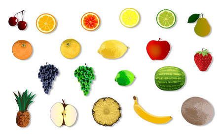 gm: A collection of colour fruit icons over a white background
