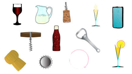port wine: A collection of drink related icons over a white background Illustration