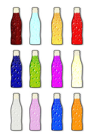 poured: Soda bottle in various flavour icons over white Illustration