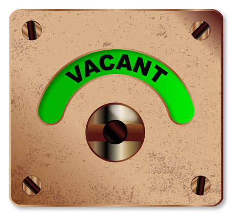 vacant: A typical loo vacant indicator over a white background