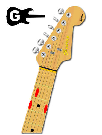 stringed: An electric guitar neck with the chord shape for G major indicated with red buttons Illustration