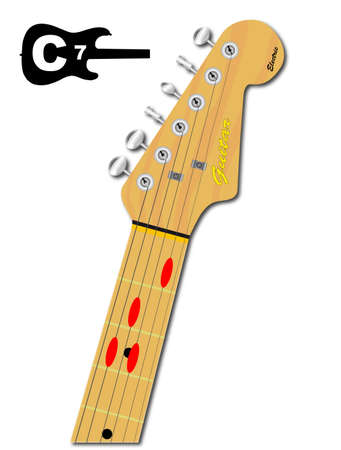 guitar neck: An electric guitar neck with the chord shape for C seventh indicated with red buttons Illustration