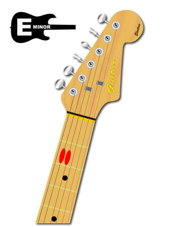 guitar neck: An electric guitar neck with the chord shape for E minor indicated with red buttons Illustration