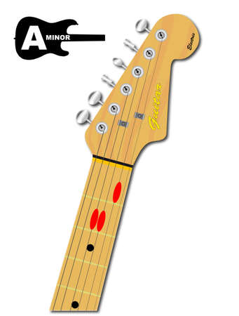 An electric guitar neck with the chord shape for A minor indicated with red buttons