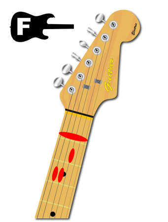 chord: An electric guitar neck with the chord shape for F Major indicated with red buttons Illustration