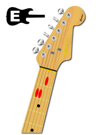 An electric guitar neck with the chord shape for E Major indicated with red buttons Illustration