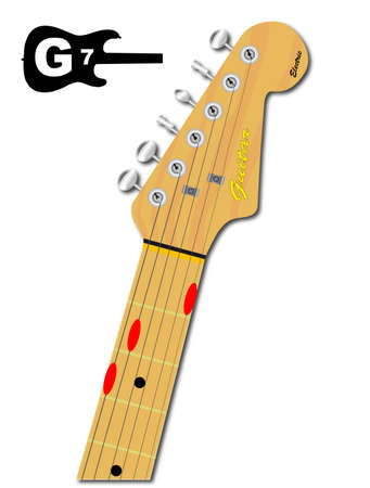 guitar neck: An electric guitar neck with the chord shape for G seventh indicated with red buttons
