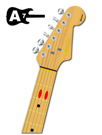 chord: An electric guitar neck with the chord shape for A seventh indicated with red buttons Illustration