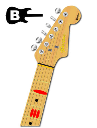 chord: An electric guitar neck with the chord shape for B major indicated with red buttons Illustration