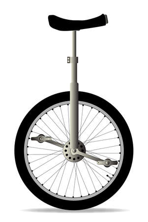unicycle: A unicycle isolated over a white background