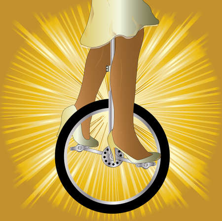 unicycle: A unicycle and woman rider over a golden splash background