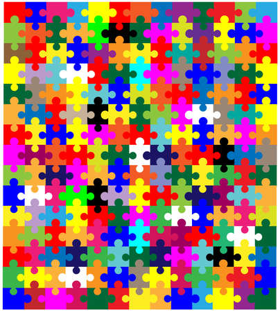 multi coloured: A multi coloured jigsaw over a white background
