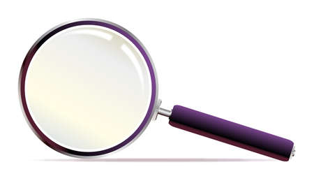 convex shape: A magnifying glass over a white background