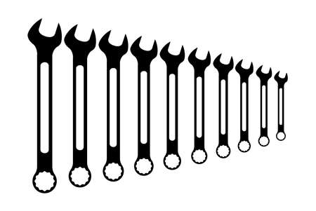 sized: A collection of various sized mechanics open ended and ring spanner set