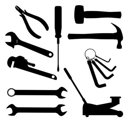 pinchers: A collection of car mechanics tools in silhouette over a white backgrounds Illustration