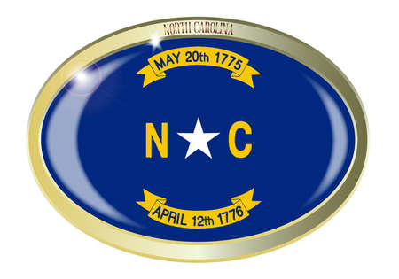 north carolina: Oval metal button with the North Carolina flag isolated on a white background