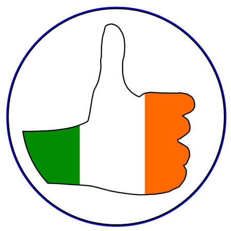 all european flags: An Irish hand giving the thumbs up sign all over a white background