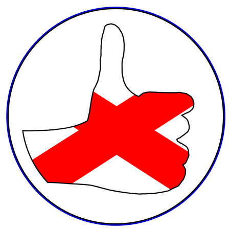 all right: A Northern Ireland hand giving the thumbs up sign all over a white background