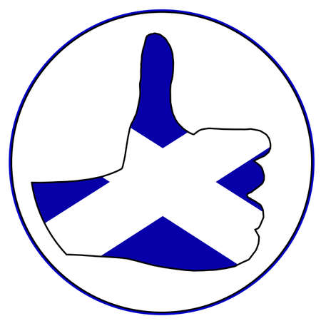 all right: A Scottish hand giving the thumbs up sign all over a white background Illustration