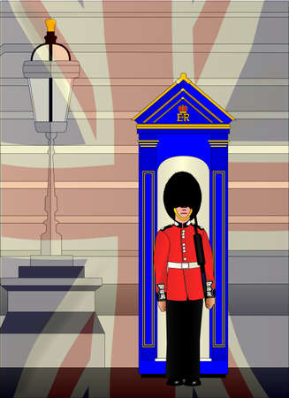 buckingham: A soldier on duty outside the royal palace with a fade of the Union Jack flag