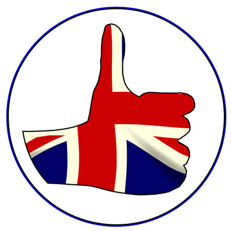 all right: A Union Jack hand giving the thumbs up sign all over a white background
