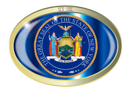 new york state: Oval metal button with the New York state seal isolated on a white background