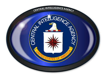 fbi: Flag of The Central Intelligence Agency of the United States of America set into a black oval button Illustration