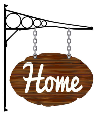 bracket: A wooden home sign with metal bracket isolated on white Illustration