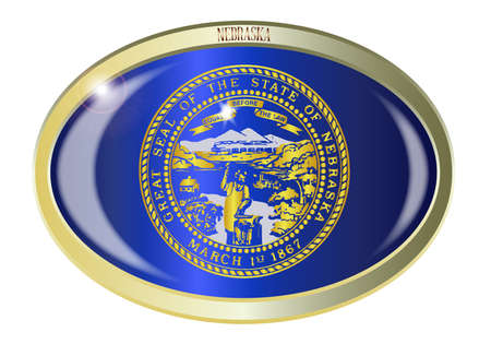 nebraska: Oval metal button with the Nebraska state Flag isolated on a white background Illustration