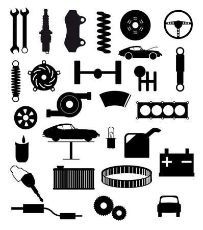 spares: Automobile servis item silhouette icons on a white background