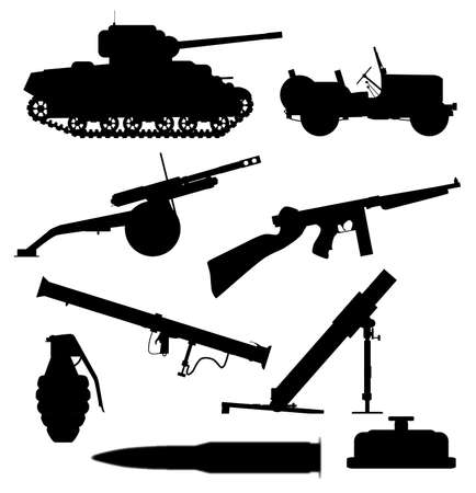 howitzer: A collection of typical weapons of war in silhouette over a white background Illustration