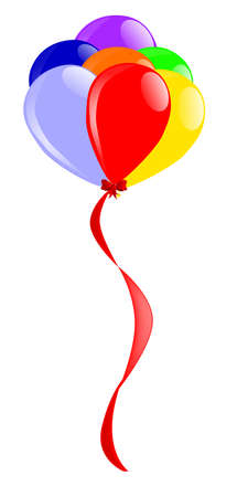 flyaway: A colorful arrangement of balloons flying away with ribbon