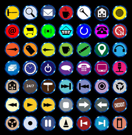 varied: A collection of varied round icon buttons Illustration