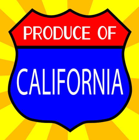 legend: Route 66 style traffic sign with the legend Produce Of California