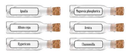 homeopathic: Homeopathic glass remedy bottles with labels and contents all over a white background
