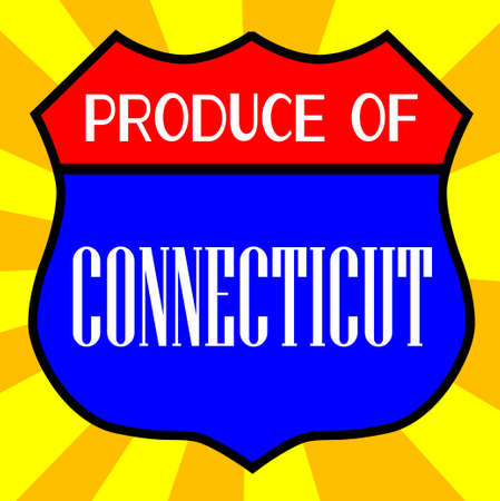 legend: Route 66 style traffic sign with the legend Produce Of Connecticut Illustration