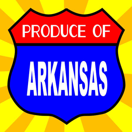 produce: Route 66 style traffic sign with the legend Produce Of Arkansas Illustration