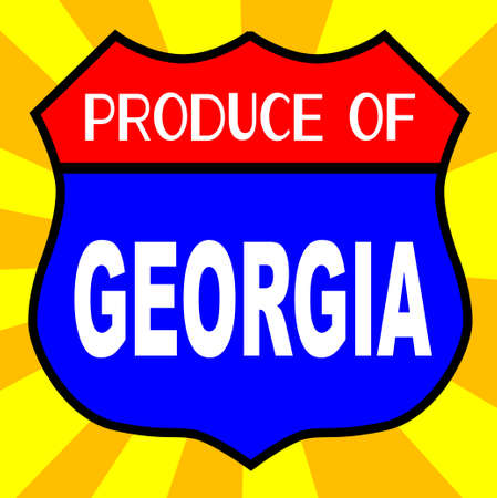 produce: Route 66 style traffic sign with the legend Produce Of Georgia