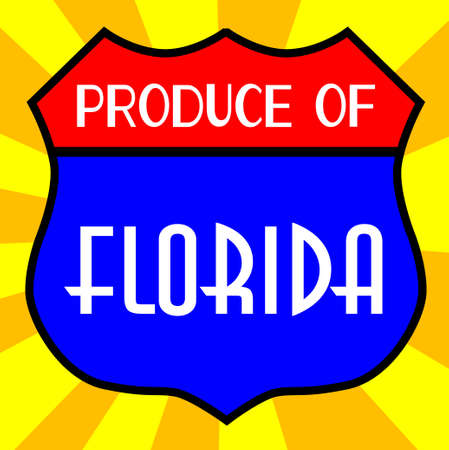 produce: Route 66 style traffic sign with the legend Produce Of Florida Illustration