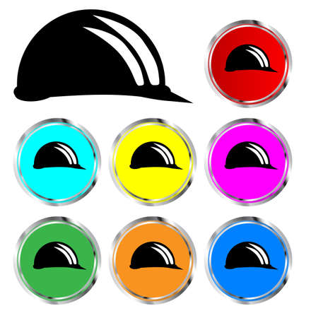 hard hat icon: A collection of coloured builders hard hat icon buttons over white