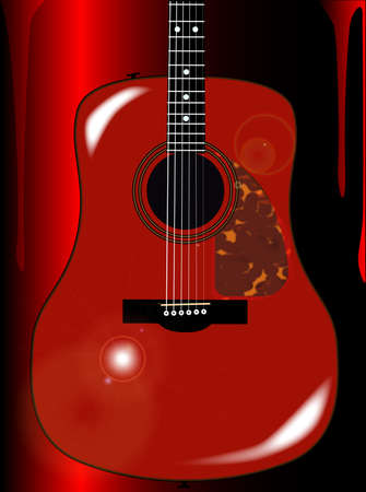hollow body: An acoustic body guitar set into a red blood running style background Illustration