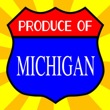 produce: Route 66 style traffic sign with the legend Produce Of Michigan Illustration
