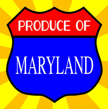 highway 6: Route 66 style traffic sign with the legend Produce Of Maryland