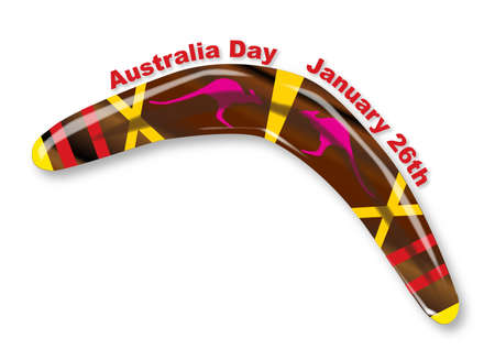 polished wood: A typical Aboriginal boomerang of polished wood with decorations over a white background with the text Australia Day January 26th Illustration